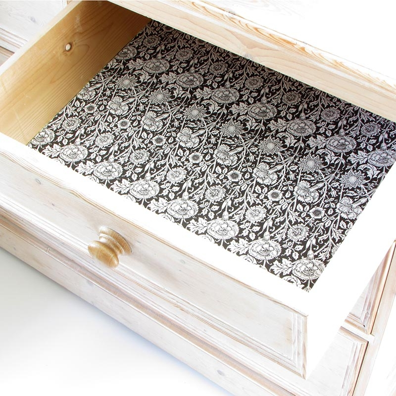 Black - Pinks and Roses - Drawer Liners